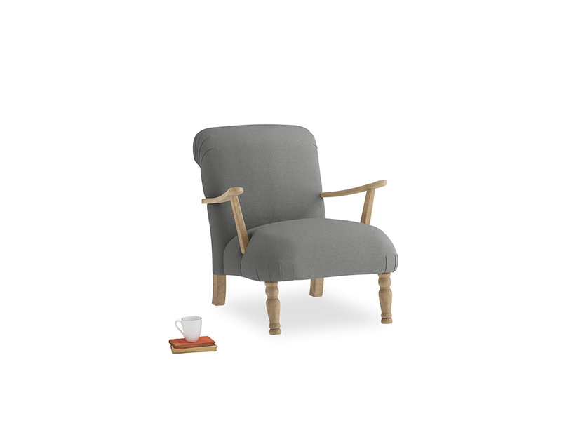 Brew Armchair in French Grey brushed cotton