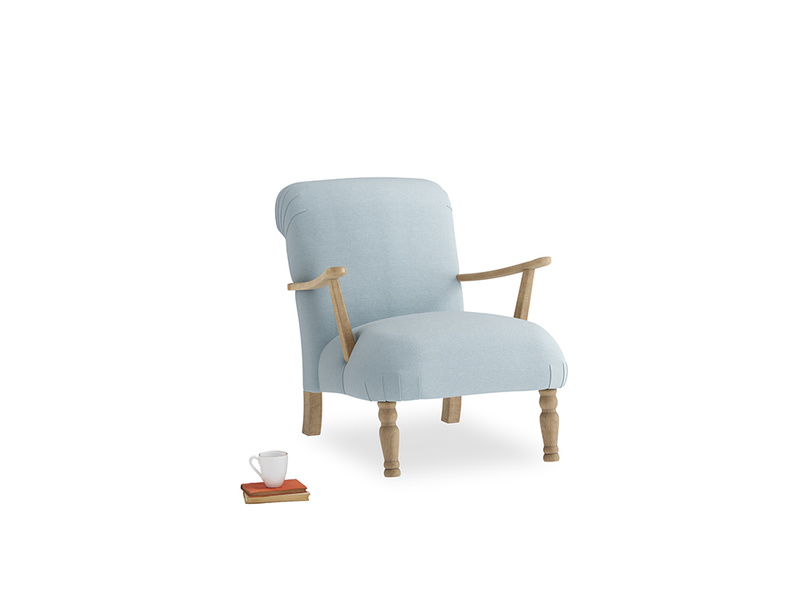 Brew Armchair in Soothing blue washed cotton linen