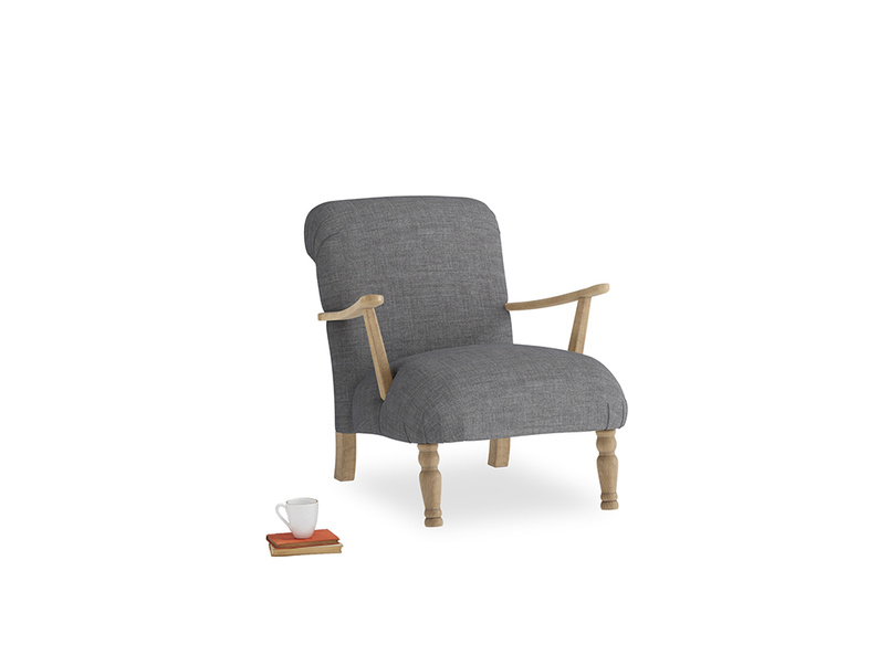 Brew Armchair in Strong grey clever woolly fabric