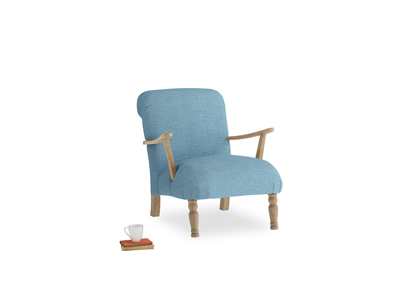 Brew Armchair in Moroccan blue clever woolly fabric
