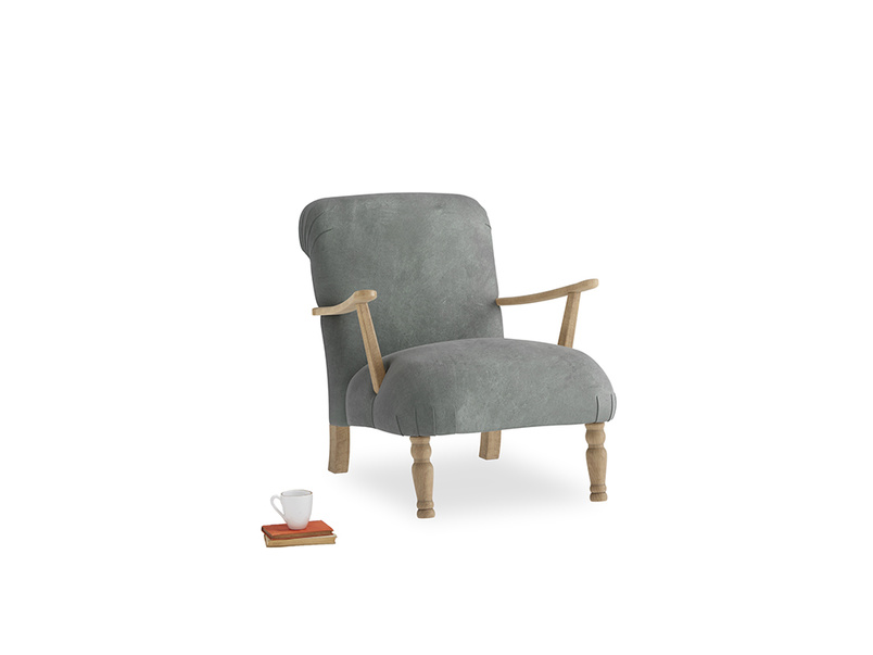 Brew Armchair in Faded Charcoal beaten leather
