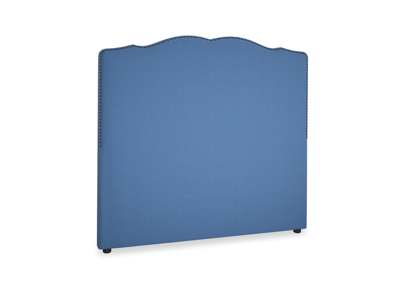 Double Marie Headboard in English blue Brushed Cotton