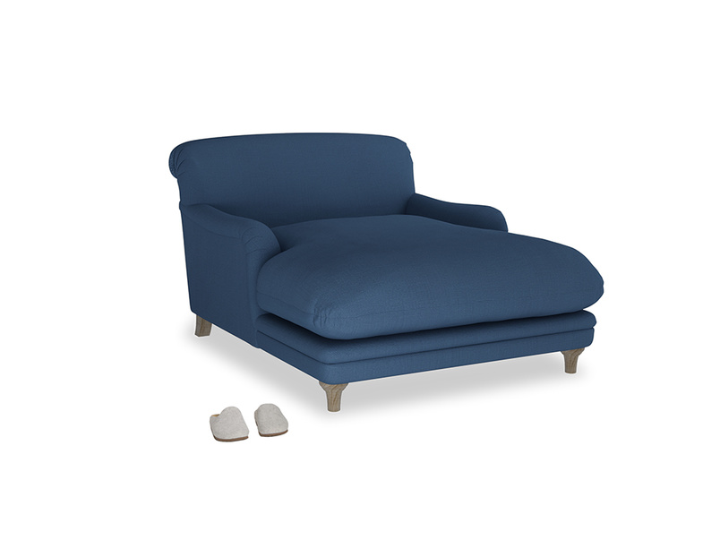 Pudding Love seat chaise in True blue Clever Linen