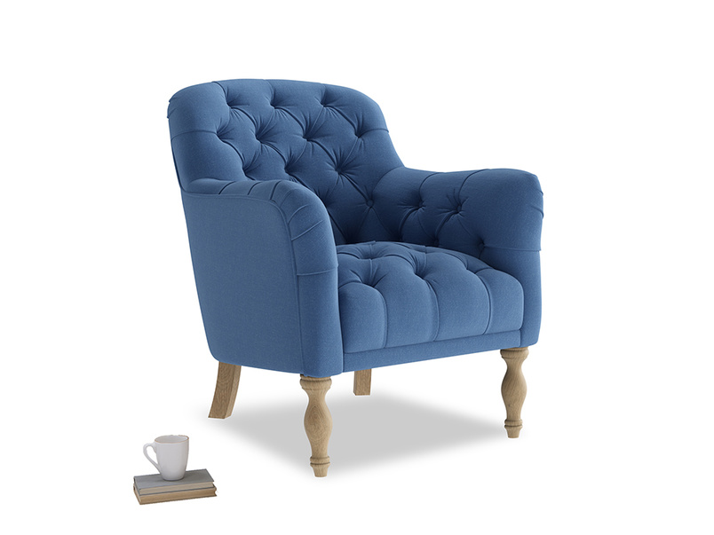 Reader Armchair in English blue Brushed Cotton