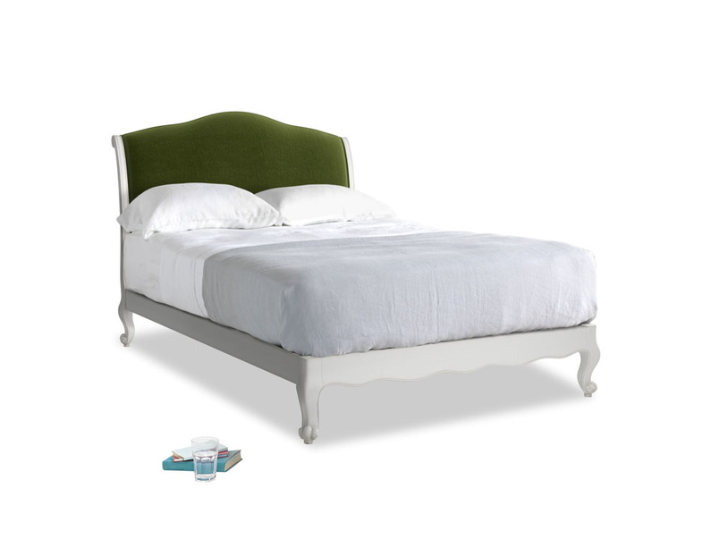 Double Coco Bed in Scuffed Grey in Good green Clever Deep Velvet