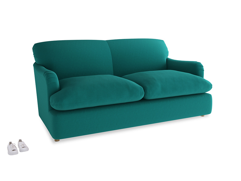 Medium Pudding Sofa Bed in Indian green Brushed Cotton