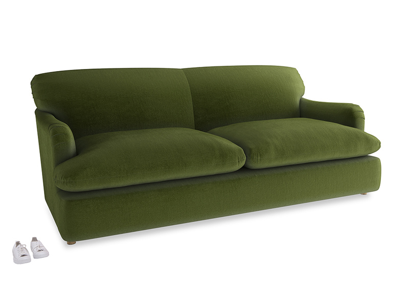 Large Pudding Sofa Bed in Good green Clever Deep Velvet