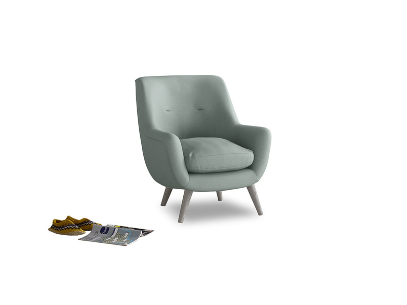 Berlin Armchair in Sea fog Clever Woolly Fabric