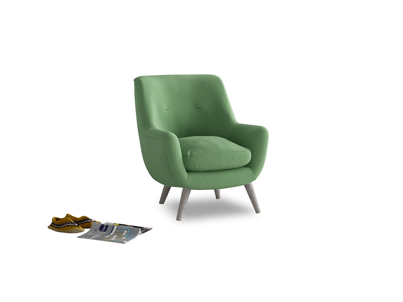 Berlin Armchair in Clean green Brushed Cotton
