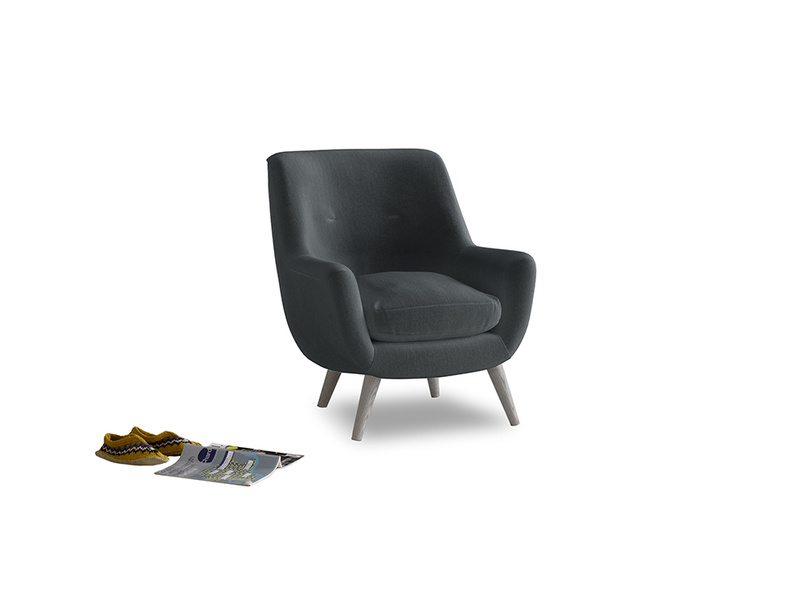 Berlin Armchair in Dark grey Clever Deep Velvet