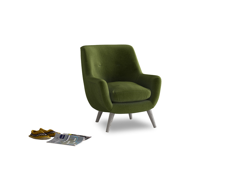 Berlin Armchair in Good green Clever Deep Velvet