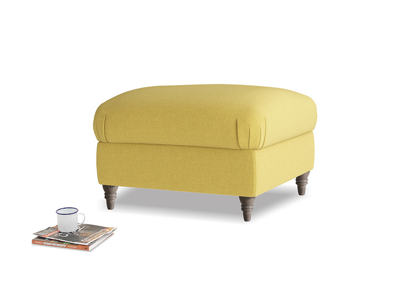 Small square footstool Flatster Footstool in Maize yellow Brushed Cotton