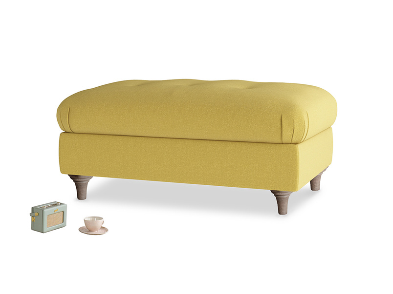 Rectangle Jammy Dodger Footstool in Maize yellow Brushed Cotton