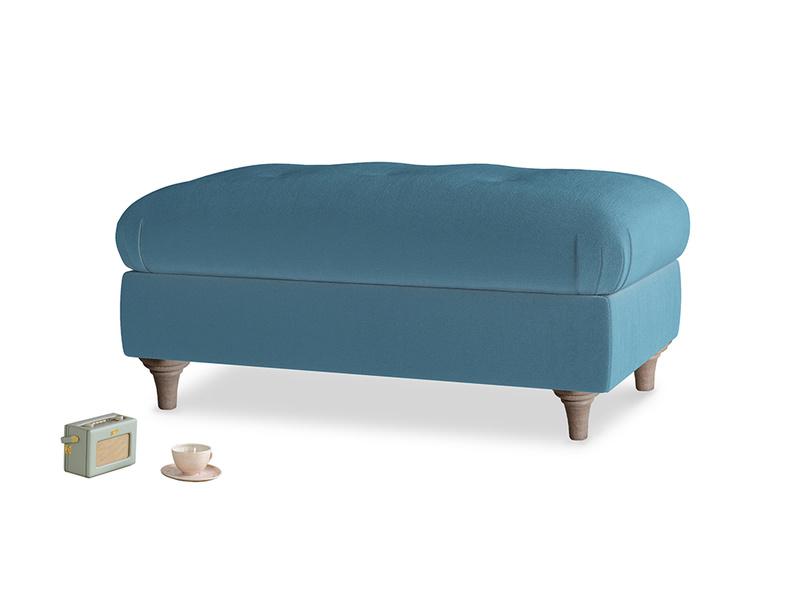 Rectangle Jammy Dodger Footstool in Old blue Clever Deep Velvet
