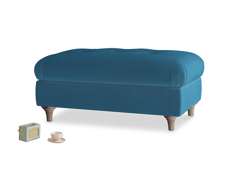 Rectangle Jammy Dodger Footstool in Twilight blue Clever Deep Velvet