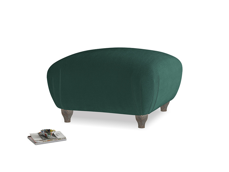 Small Square Homebody Footstool in Dark green Clever Velvet
