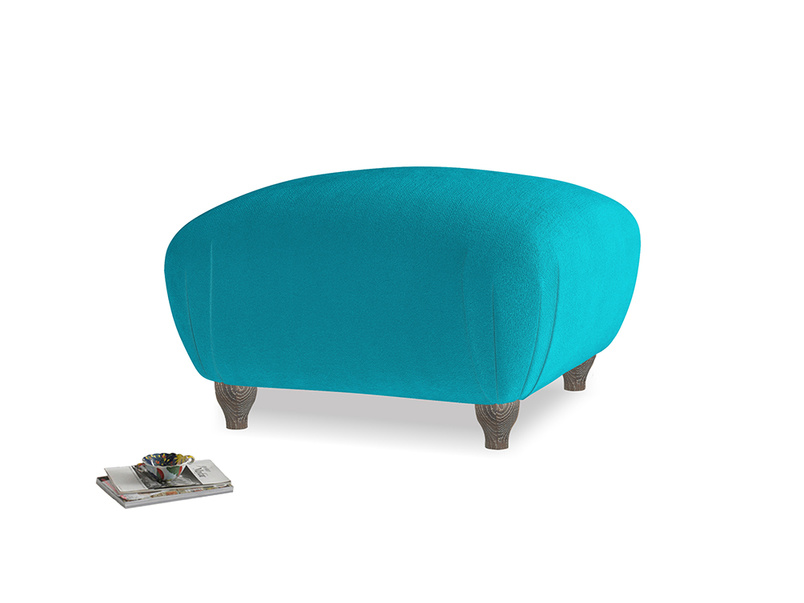 Small Square Homebody Footstool in Pacific Clever Velvet