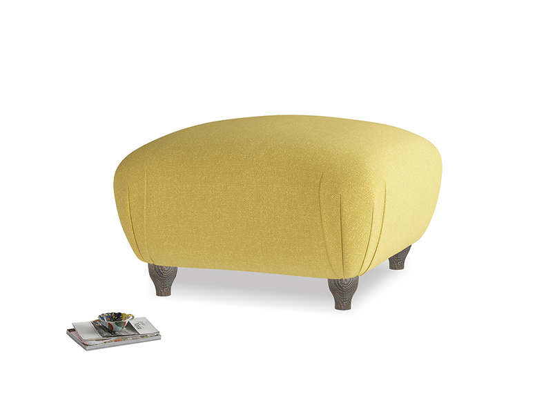 Small Square Homebody Footstool in Maize yellow Brushed Cotton
