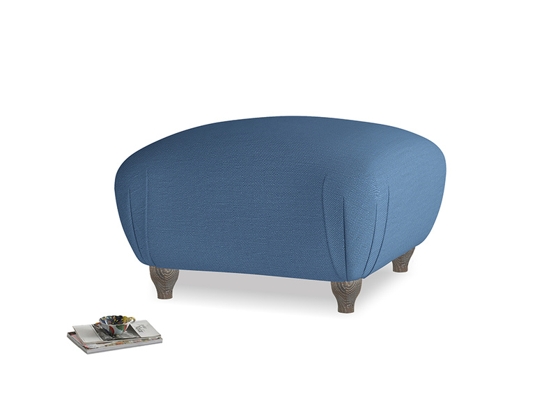 Small Square Homebody Footstool in True blue Clever Linen