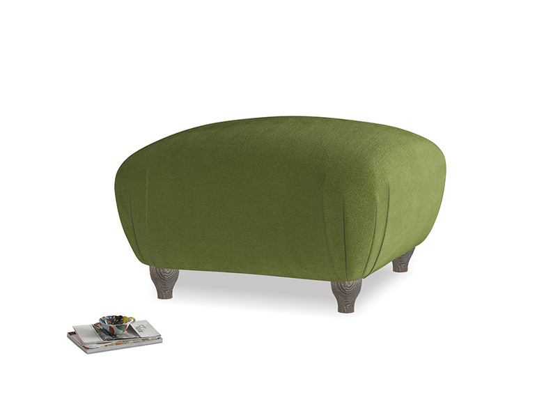 Small Square Homebody Footstool in Good green Clever Deep Velvet