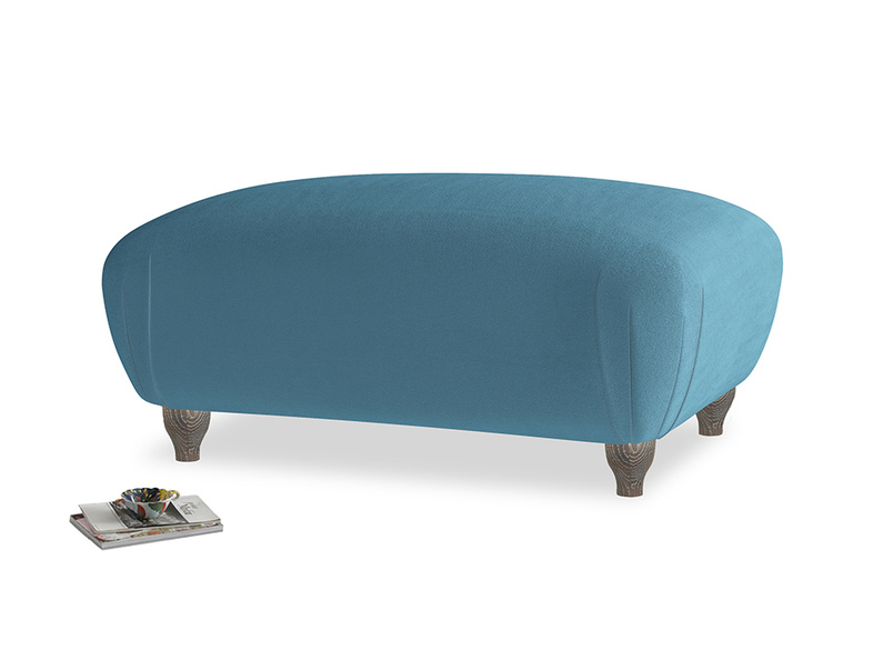 Rectangle Homebody Footstool in Old blue Clever Deep Velvet