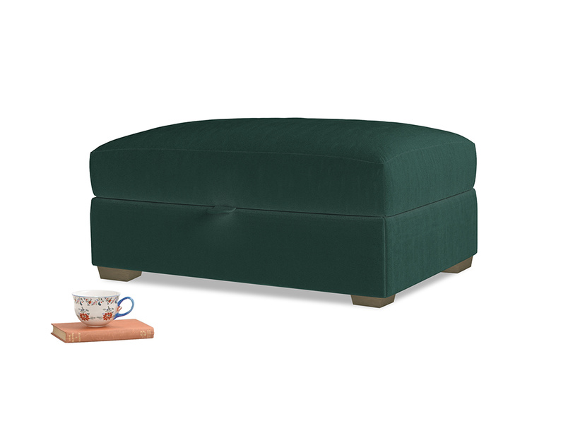 Bumper Storage Footstool in Dark green Clever Velvet