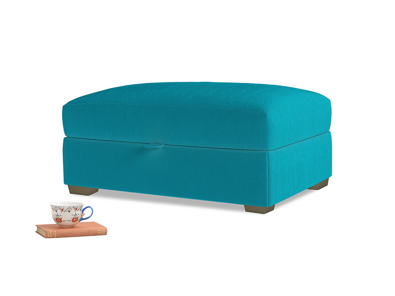 Bumper Storage Footstool in Pacific Clever Velvet