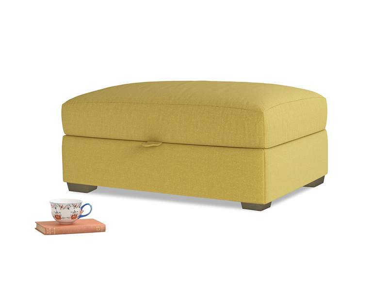 Bumper Storage Footstool in Maize yellow Brushed Cotton
