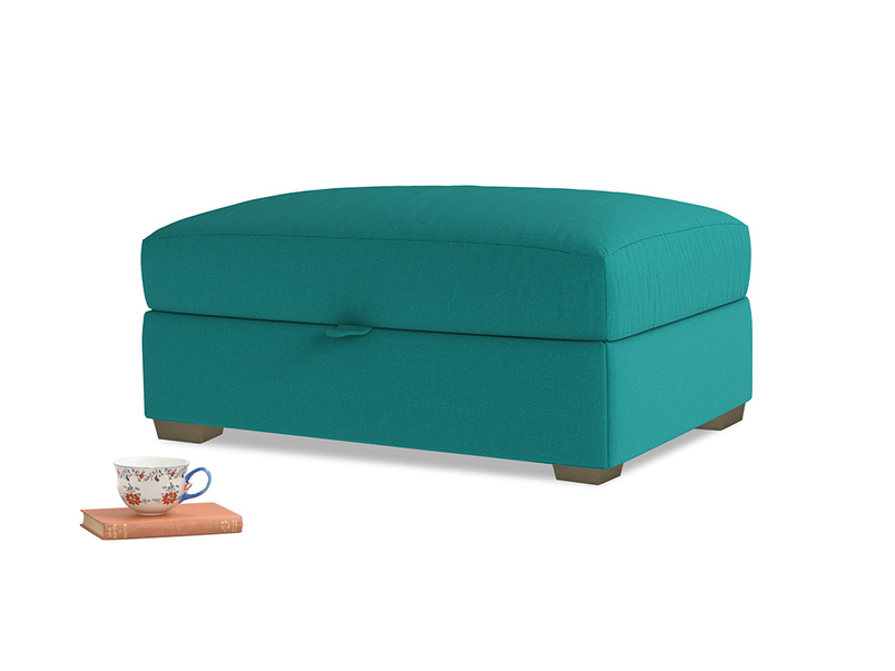 Bumper Storage Footstool in Indian green Brushed Cotton