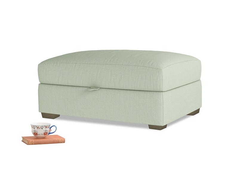 Bumper Storage Footstool in Powder green Clever Linen