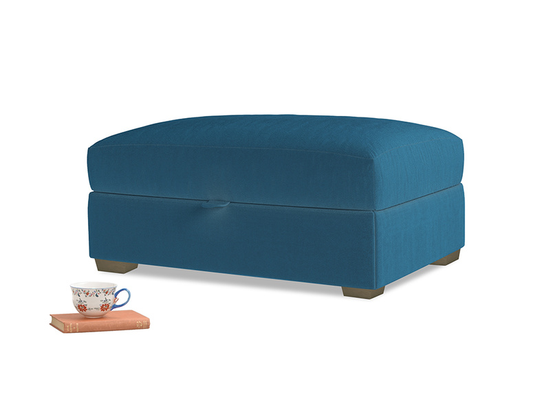 Bumper Storage Footstool in Twilight blue Clever Deep Velvet