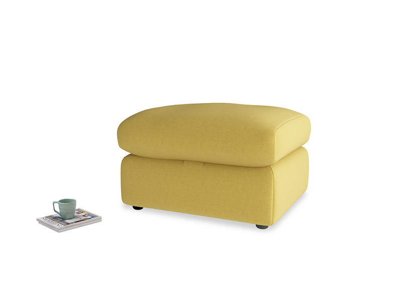 Chatnap Storage Footstool in Maize yellow Brushed Cotton