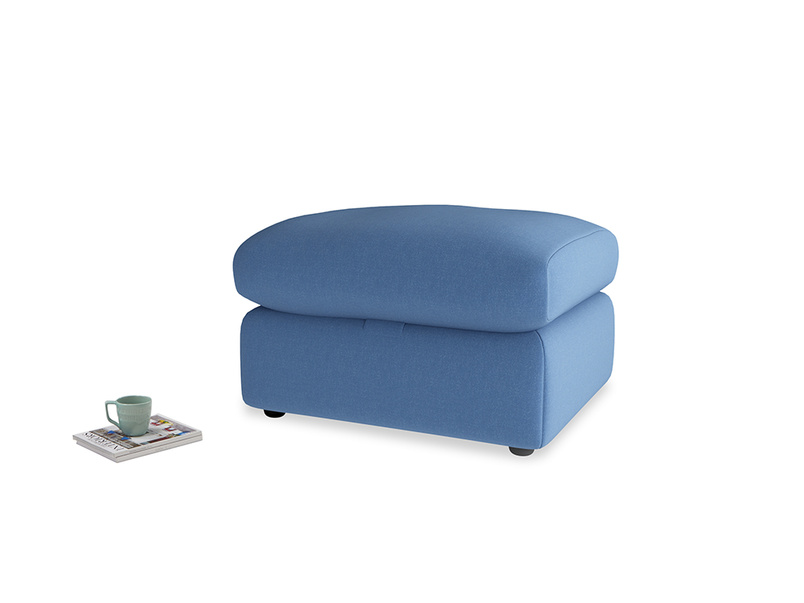 Chatnap Storage Footstool in English blue Brushed Cotton