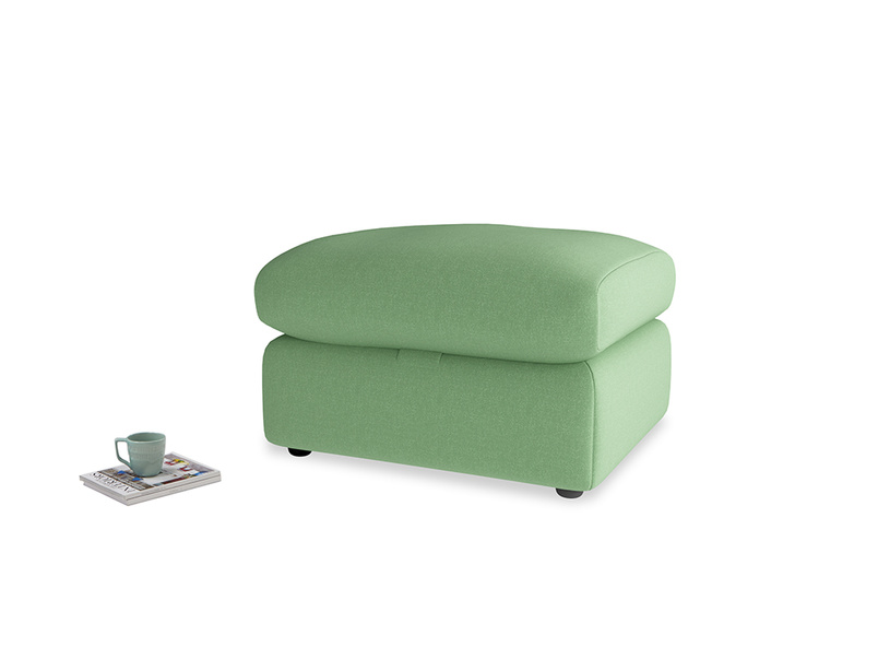 Chatnap Storage Footstool in Clean green Brushed Cotton