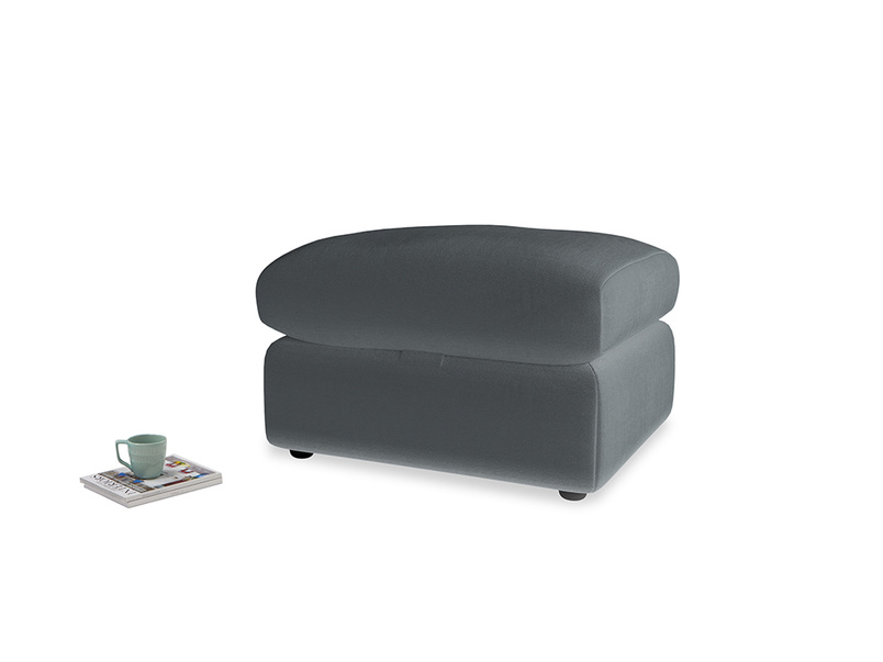 Chatnap Storage Footstool in Dark grey Clever Deep Velvet