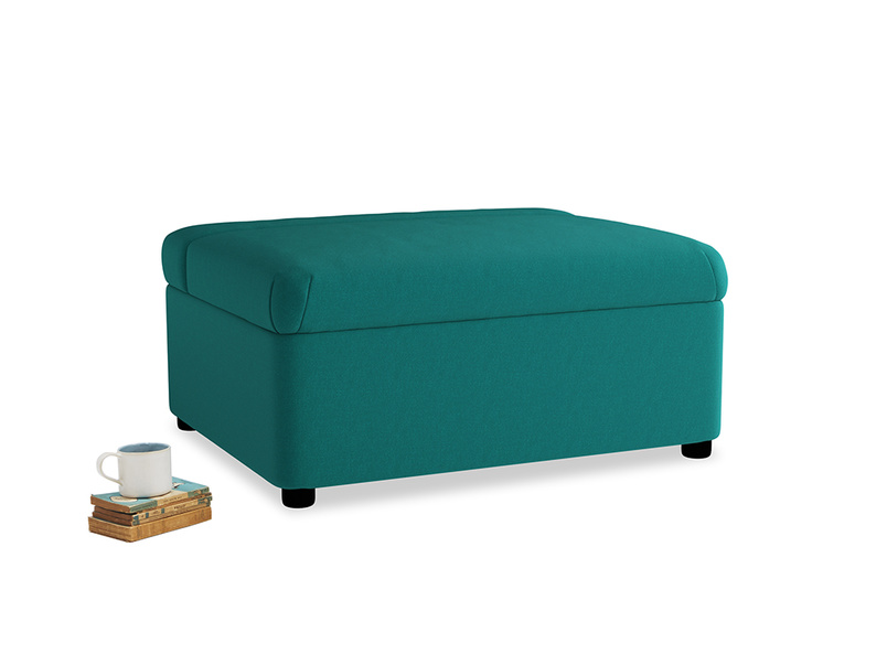 Single Bed in a Bun in Indian green Brushed Cotton