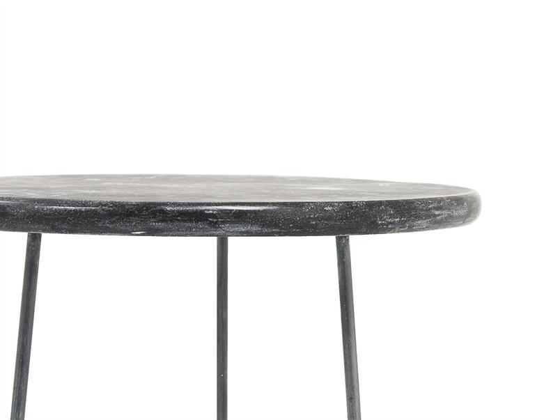 Hot Shot round limestone side table