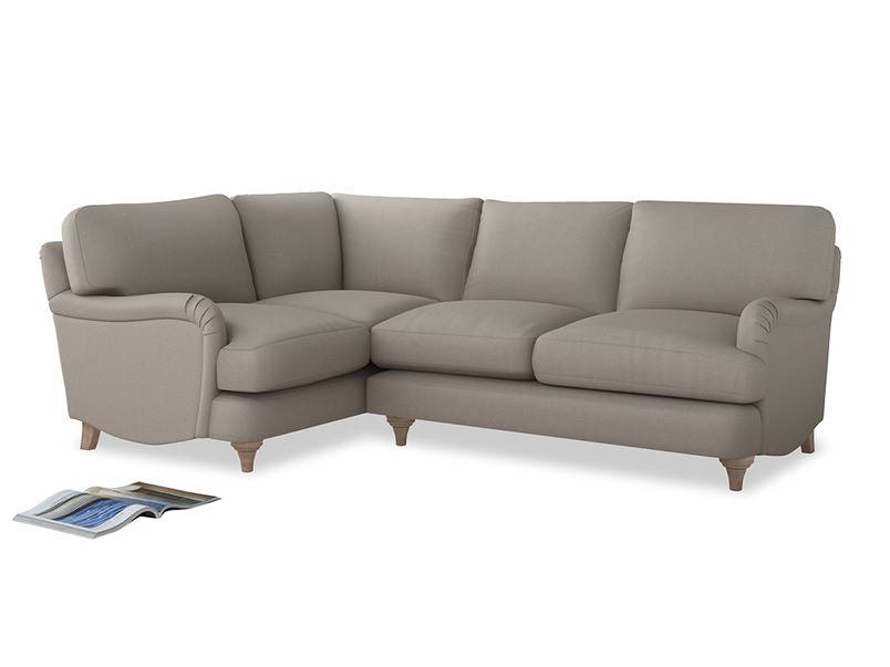 Large Left Hand Jonesy Corner Sofa in Sailcloth grey Clever Woolly Fabric