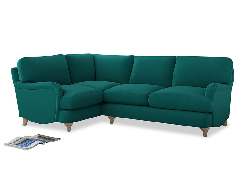 Large Left Hand Jonesy Corner Sofa in Indian green Brushed Cotton