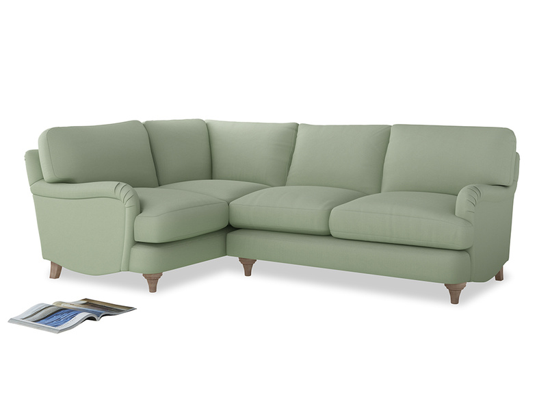 Large Left Hand Jonesy Corner Sofa in Powder green Clever Linen