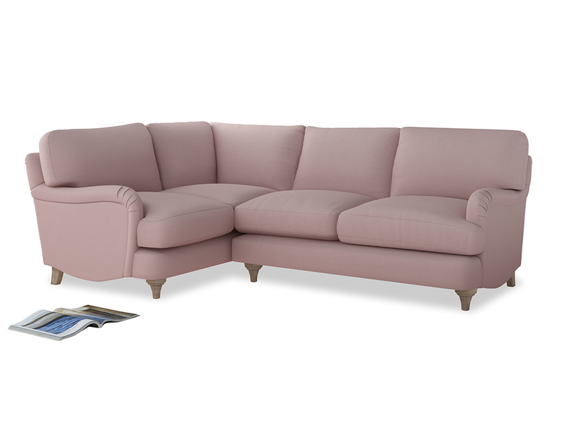 Large Left Hand Jonesy Corner Sofa in Potter's pink Clever Linen