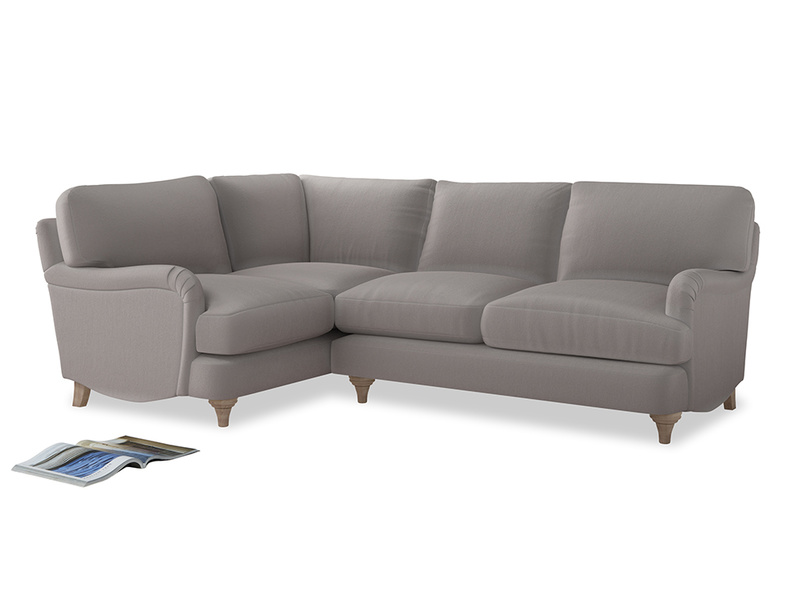 Large Left Hand Jonesy Corner Sofa in Mouse grey Clever Deep Velvet