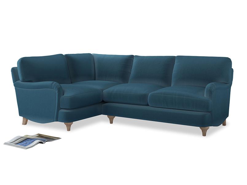 Large Left Hand Jonesy Corner Sofa in Old blue Clever Deep Velvet
