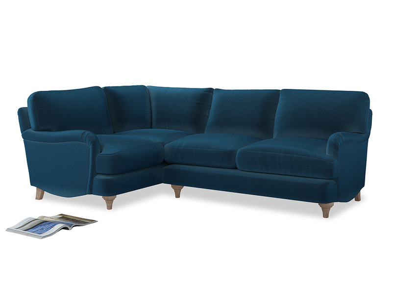 Large Left Hand Jonesy Corner Sofa in Twilight blue Clever Deep Velvet