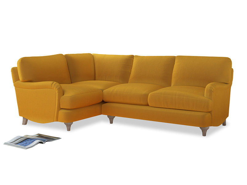 Large Left Hand Jonesy Corner Sofa in Pollen Clever Deep Velvet