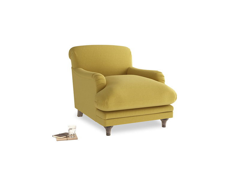 Pudding Armchair in Maize yellow Brushed Cotton