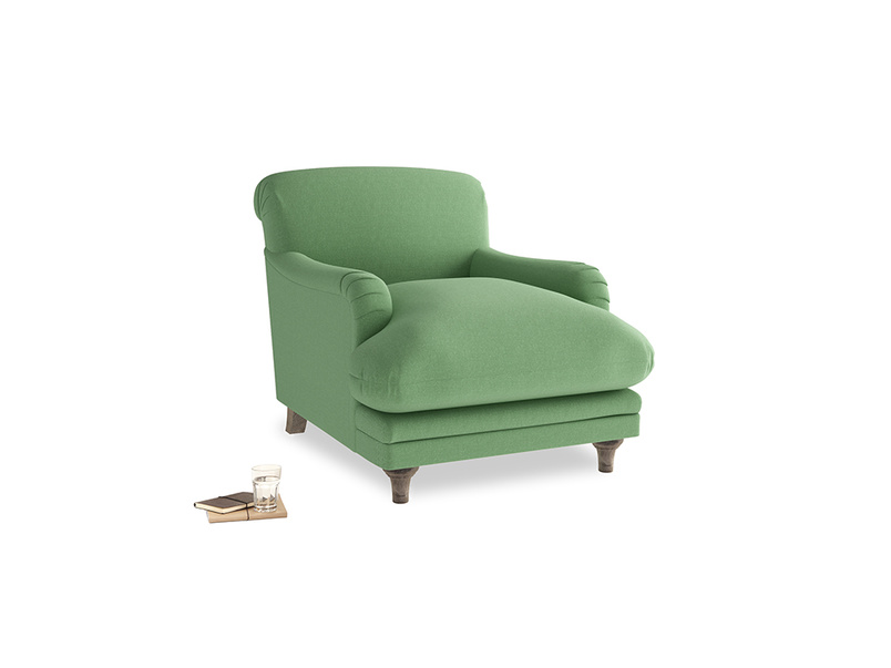 Pudding Armchair in Clean green Brushed Cotton