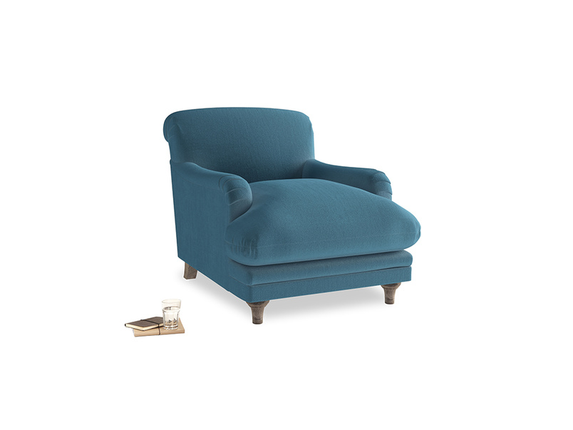 Pudding Armchair in Old blue Clever Deep Velvet
