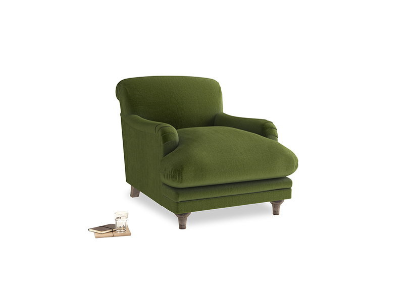 Pudding Armchair in Good green Clever Deep Velvet