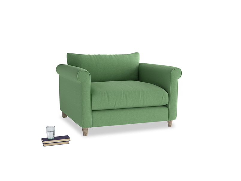 Weekender Love seat in Clean green Brushed Cotton